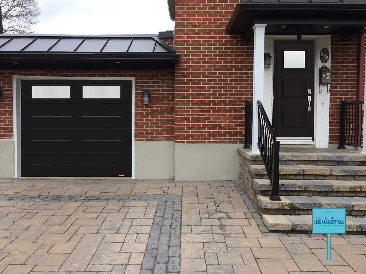 Garage Door and front Door with glass